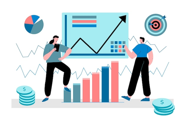 Análisis del mercado de valores. vector gratuito