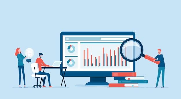 Análisis y monitoreo de personas de negocios en el concepto de monitor de tablero de informes web Vector Premium
