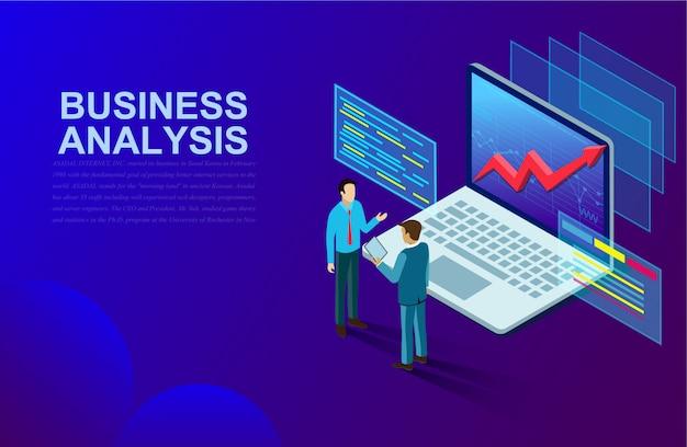 Análisis de negocios y comunicación de marketing contemporáneo y software para el desarrollo. Vector Premium