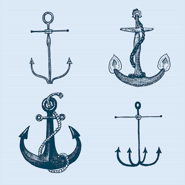 Anclaje grabado vintage en estilo antiguo dibujado a mano o tatuaje, dibujo para tema marino, acuático o náutico, corte de madera, logotipo azul Vector Premium