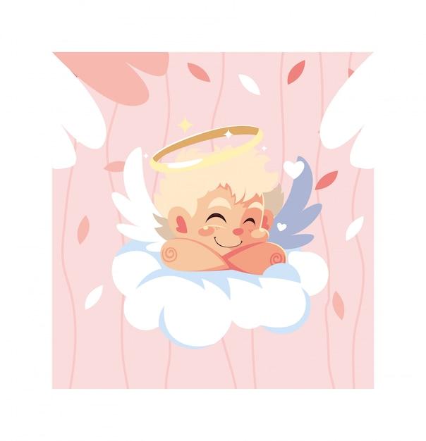 Ángel de cupido durmiendo en una nube, día de san valentín Vector Premium