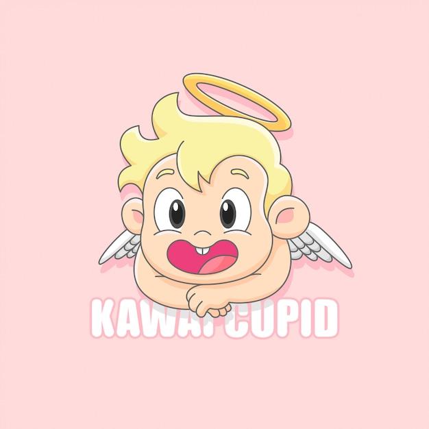 Ángel de cupido lindo sonriendo logo de dibujos animados Vector Premium