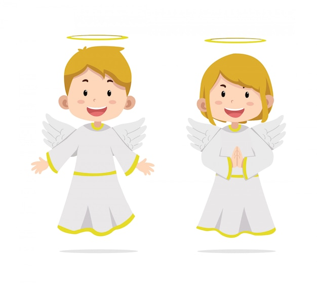 Angel de personajes de niños lindos Vector Premium