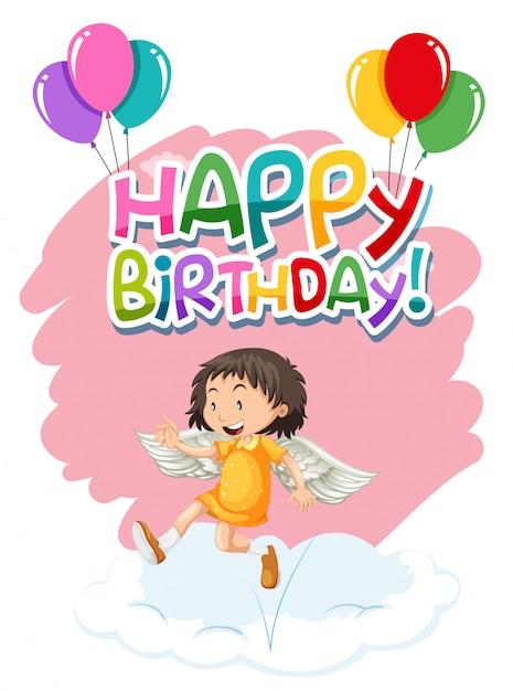 Ángel en plantilla de cumpleaños vector gratuito