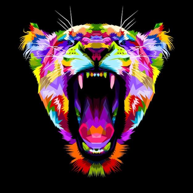Angry colorful liones en estilo pop art Vector Premium