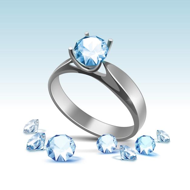 Anillo de compromiso de plata con diamantes claros brillantes azules claros cerca aislado Vector Premium