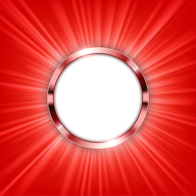 Anillo metálico con espacio de texto y luz roja iluminada Vector Premium