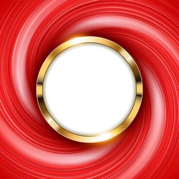 Anillo de oro metálico con espacio de texto y luz roja de remolino Vector Premium