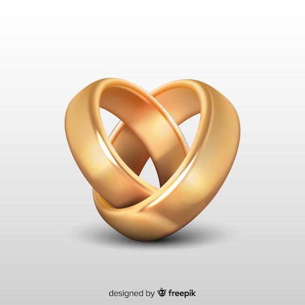 Anillos de boda dorados en estilo realista. vector gratuito