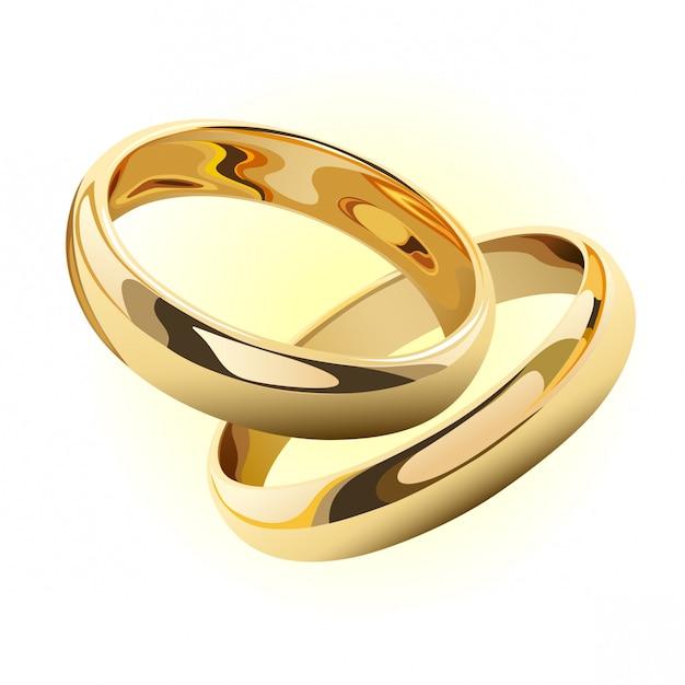 502106405c49 Anillos de boda de oro aislados en blanco Vector Premium