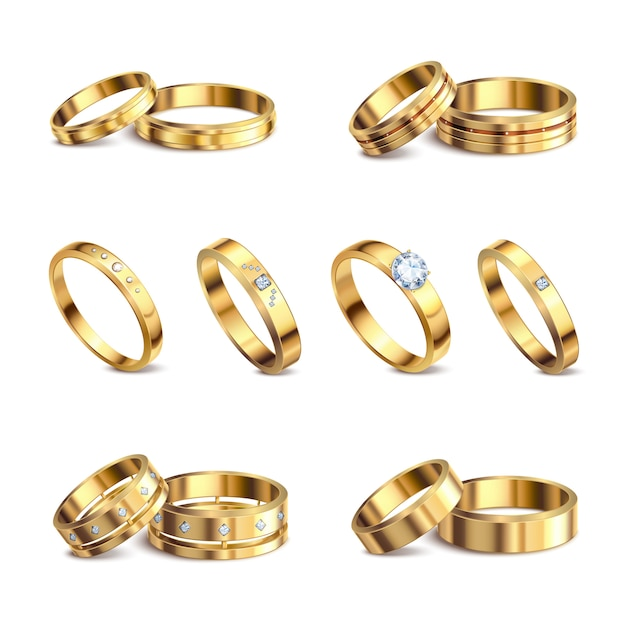 Anillos de bodas de oro 6 conjuntos aislados realistas de metal noble con joyas de diamantes contra la ilustración de fondo blanco vector gratuito