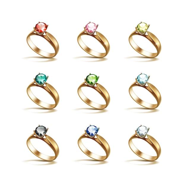 Anillos de compromiso de oro rojo rosa azul verde negro blanco diamantes Vector Premium