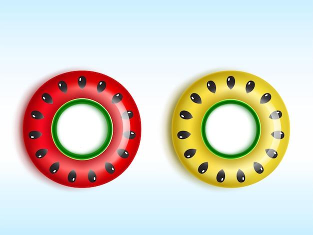 Anillos inflables rojos y amarillos con patrones de sandía y semillas de melón vector gratuito