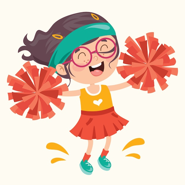 Animadora divertida con coloridos pompones Vector Premium