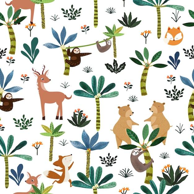 Animal lindo en modelo inconsútil del bosque tropical botánico. Vector Premium
