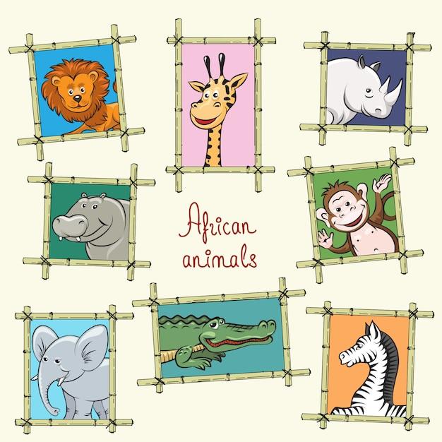 Animales africanos en marcos de madera Vector Premium