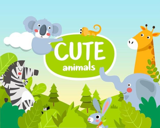 Animales bonitos. animales de la selva Vector Premium