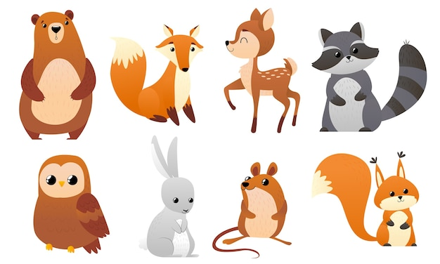 Animales del bosque divertidos Vector Premium