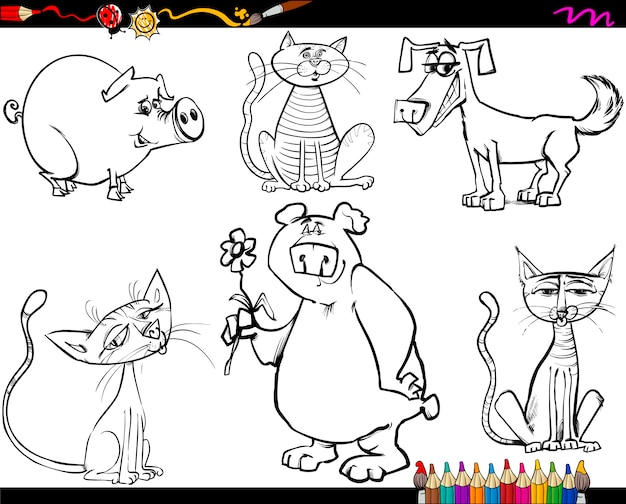 Animales colocan dibujos animados para colorear | Descargar Vectores ...