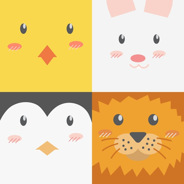 Animales De Dibujos Animados Lindos Se Enfrenta A Fondo De