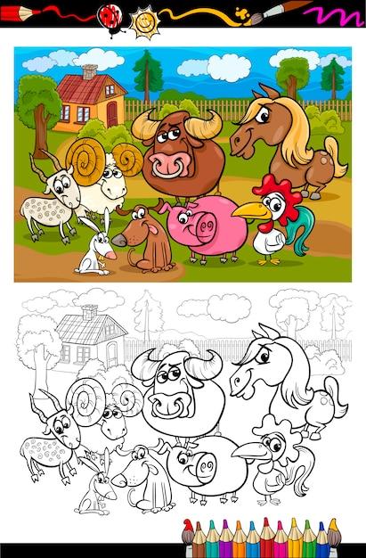Animales de granja de dibujos animados para colorear libro ...