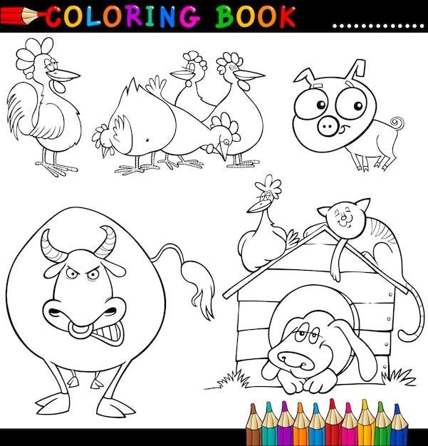 Animales de granja para colorear libro o página | Descargar Vectores ...