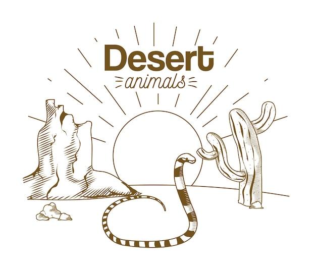 Animales del desierto dibujo a mano de dibujos animados Vector Premium