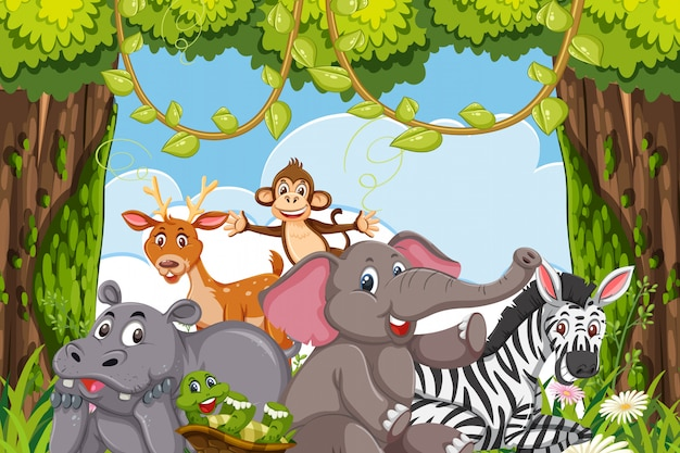 Animales en escena de la jungla Vector Premium