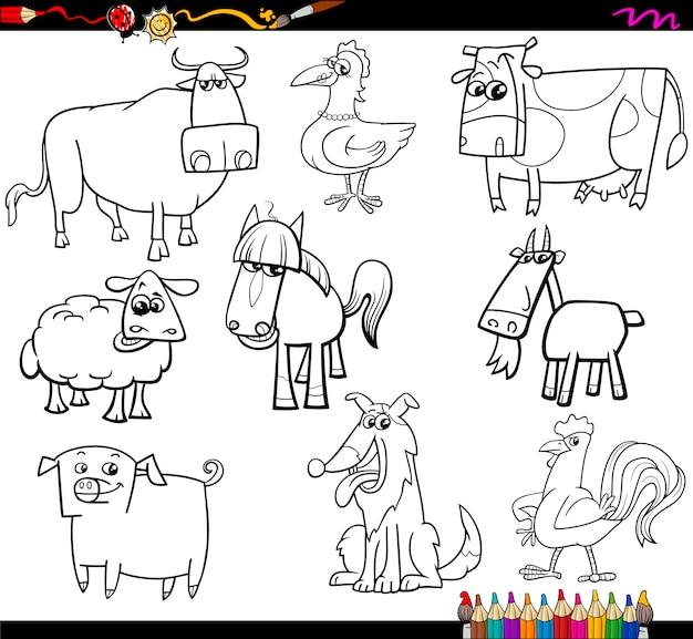 Animales de granja para colorear bookd set | Descargar Vectores Premium