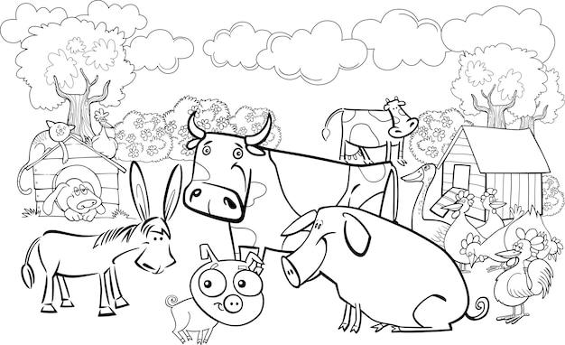 Animales de granja para colorear libro   Descargar Vectores Premium