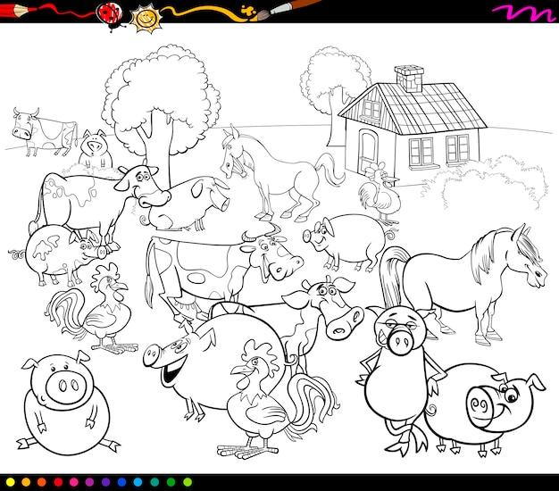 Animales De Granja De Dibujos Animados Para Colorear Descargar