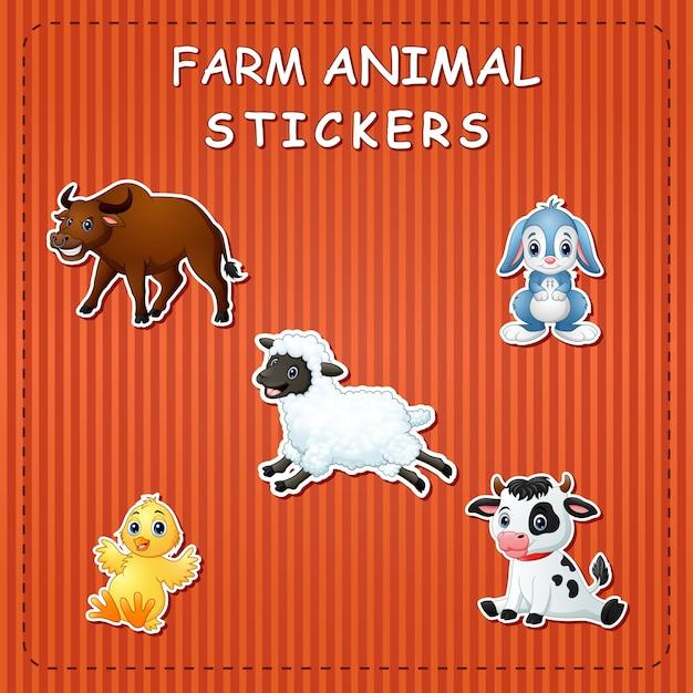 Animales de granja de dibujos animados lindo en etiqueta Vector Premium