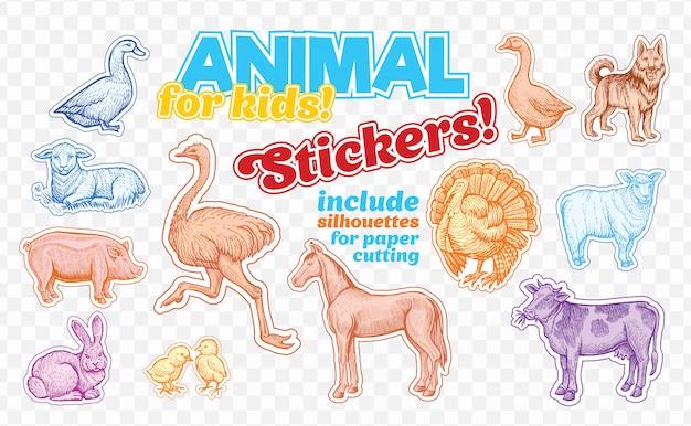 Animales de granja en estilo boceto en pegatinas de colores. aislado en transparente vector gratuito
