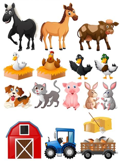 Animales de granja con granero y tractor   Descargar Vectores Premium