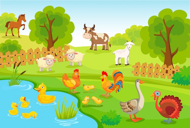Animales de granja vector gratuito