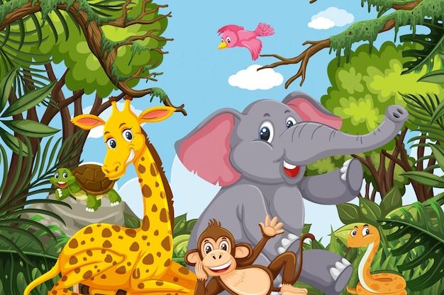 Animales lindos en escena de la selva Vector Premium