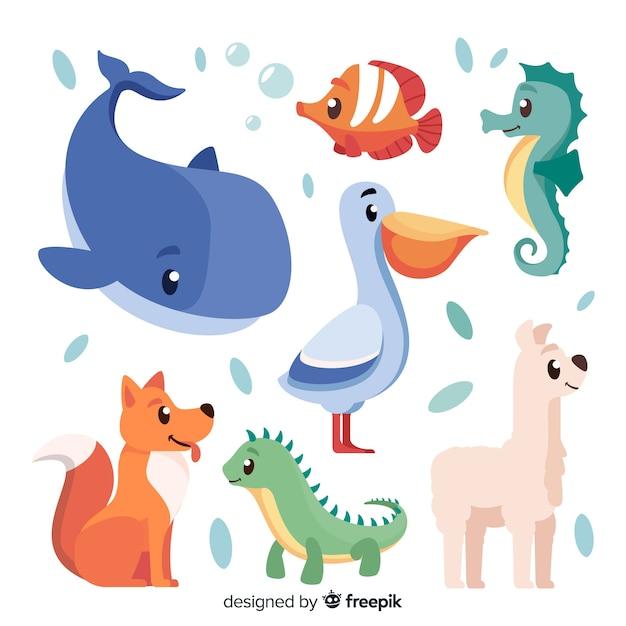 Animales lindos en estilo infantil vector gratuito