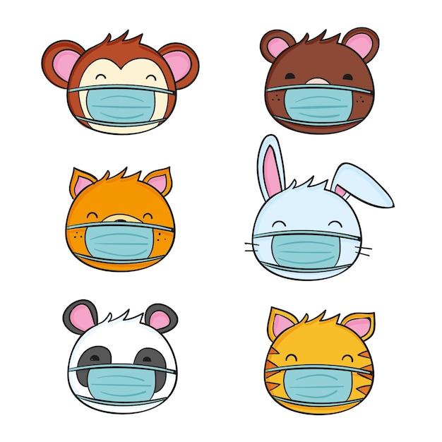 Animales lindos con máscaras faciales. vector gratuito