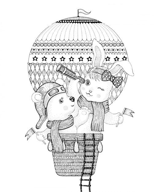 Animales lindos, oso y conejo, volando en globo de aire caliente, doodle ilustración vectorial. Vector Premium