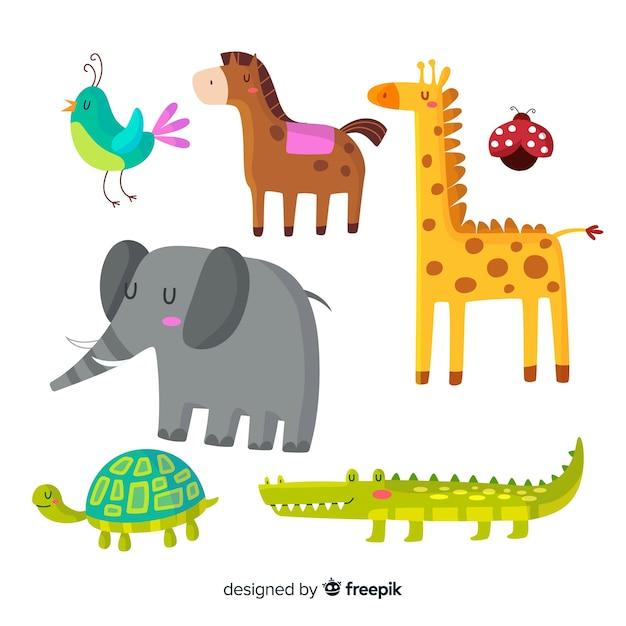 Animales lindos en paquete de estilo infantil vector gratuito