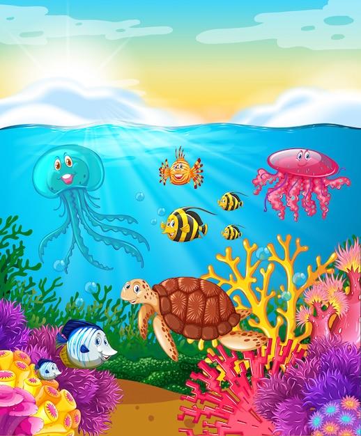Animales marinos nadando bajo el mar Vector Premium