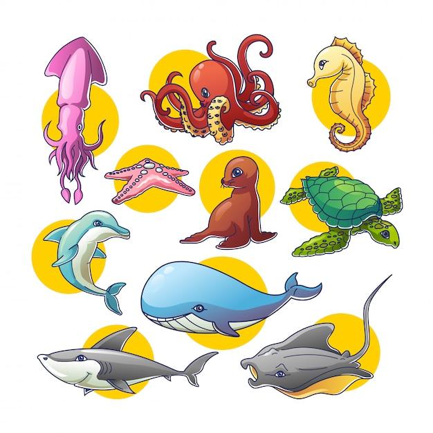 Animales marinos Vector Premium