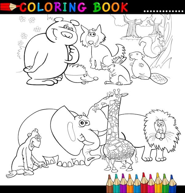 Animales para colorear libro o página   Descargar Vectores Premium