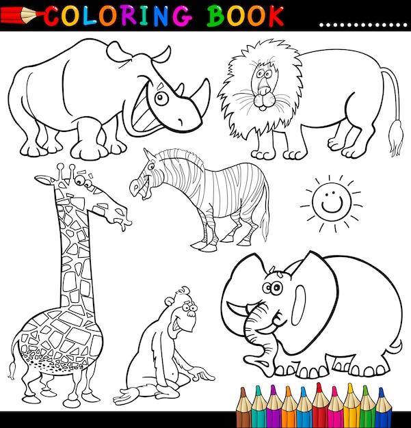 Animales para colorear libro o página | Descargar Vectores Premium
