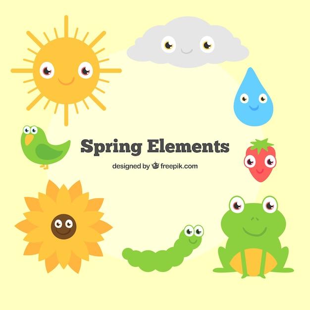 Animales De Primavera De Dibujos Animados Y Elementos De La