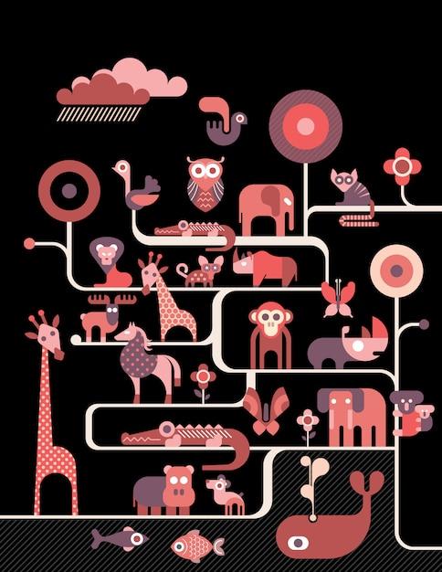 Animales retro ilustracion Vector Premium