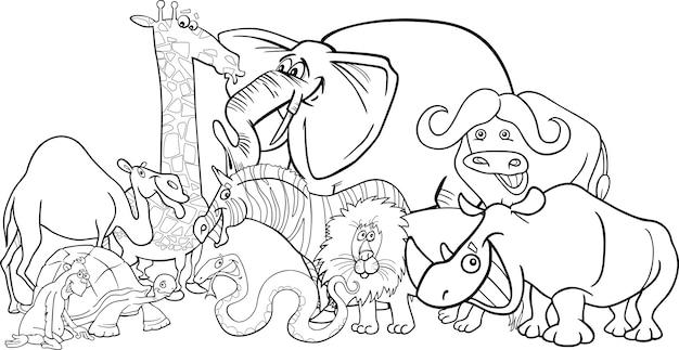 Animales de safari africano de dibujos animados para colorear ...