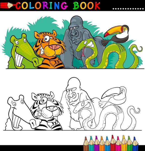Animales salvajes de la selva para colorear | Descargar Vectores Premium