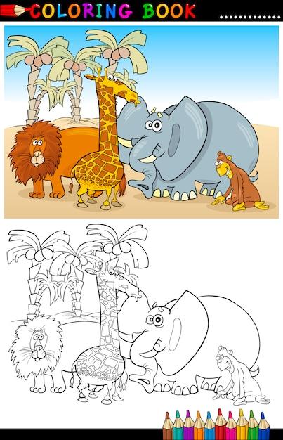 Animales salvajes de safari para colorear | Descargar Vectores Premium