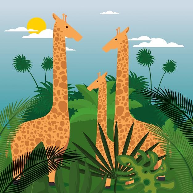 Animales salvajes en la escena de la selva. vector gratuito